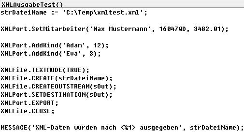 Aufruf des XML-Ports